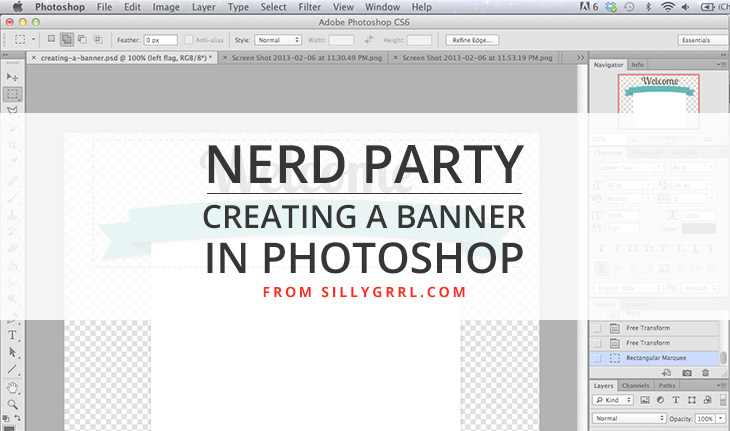 How to create a banner in photoshop xo sarah sillygrrl nerd party creating a banner in photoshop malvernweather Images