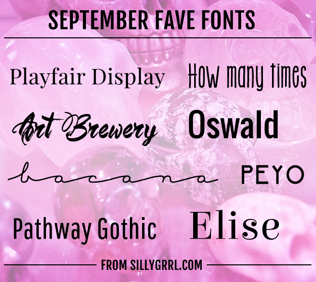 Septemeber Fave Fonts from XOSarah.com