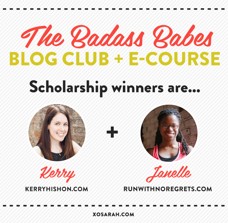The Badass Babes scholarship winners are . . .