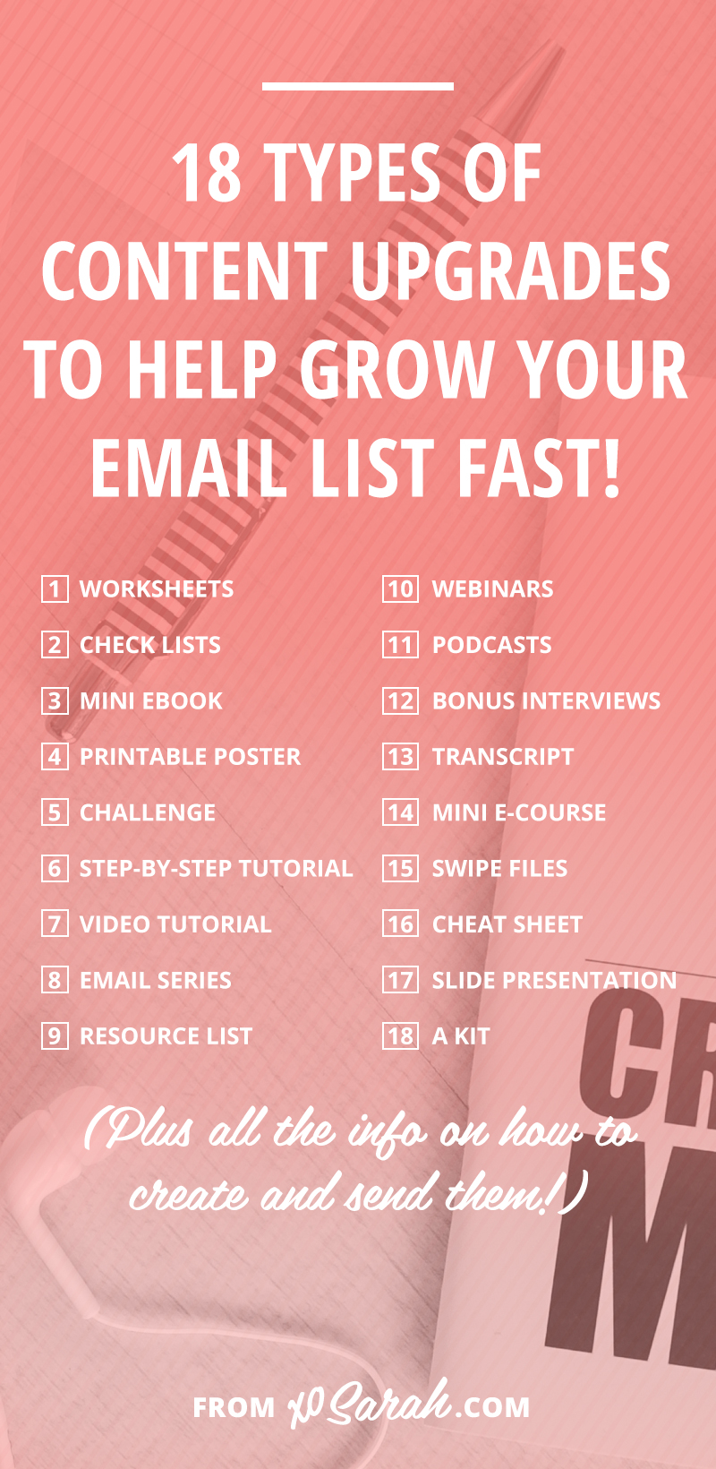 Content upgrades are THE best way to provide your audience with a massive amount of value and build your email list at the same time. And it's THE biggest way I've been able to grow my own list on a daily basis. While I'm sure you're convinced it will cause a spike in subscriber numbers and sales, actually coming up with content upgrades on a regular basis might prove to be challenging. So today I've got EIGHTEEN ideas for how you can add value to your blog posts and boost that email list every single day!