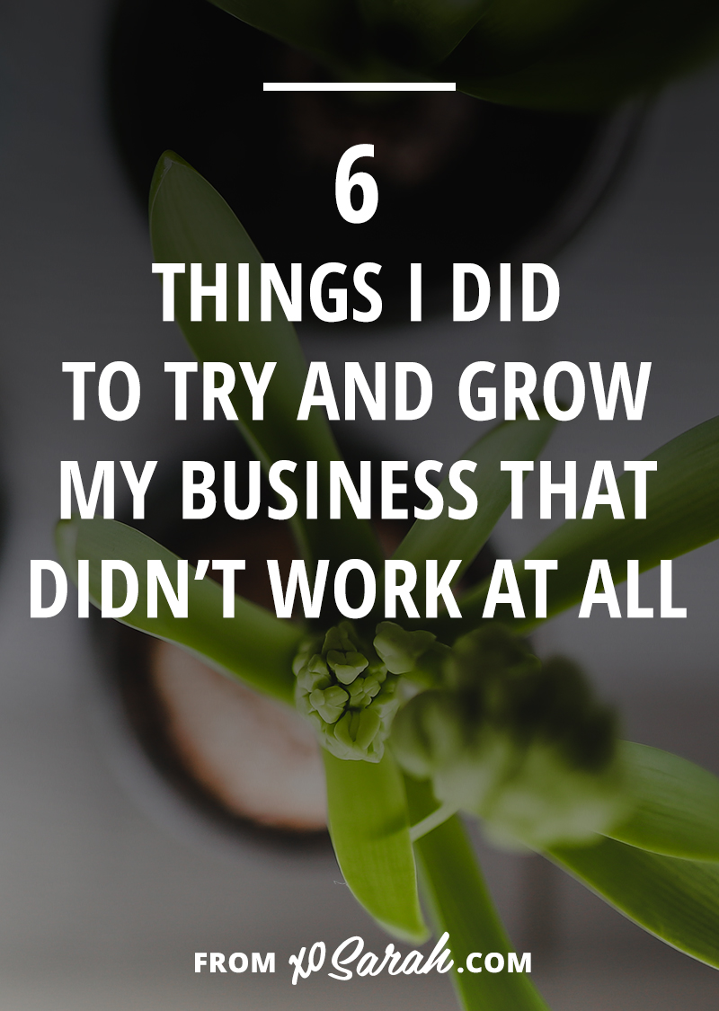 Let's be honest, this whole building an online business thing, it's a giant experiment. There are studies and statistics, but with the rate at which the internet changes, the game changes too. And that means what worked yesterday might be a terrible idea today. Here are 6 things I did to try and grow my business that totally did not work.