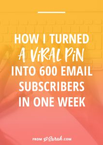 How I turned a viral pin into 600+ email subscribers in one week