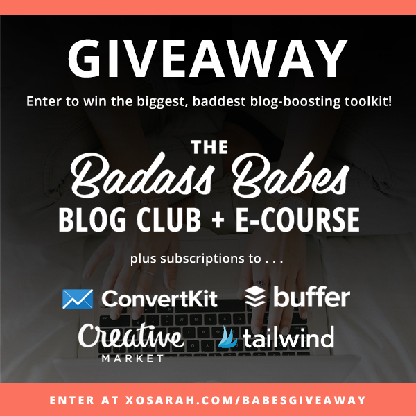 Enter to win the biggest, baddest blogging toolkit. Including The Badass Babes Blog Club + E-Course, ConvertKit, Buffer, TailWind and a gift certificate to Creative Market!