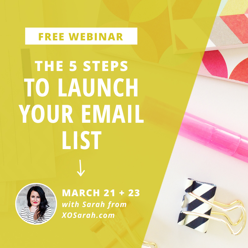 Attention bloggers and solopreneurs: Watch this free webinar and learn the 5 steps to launch your email list!