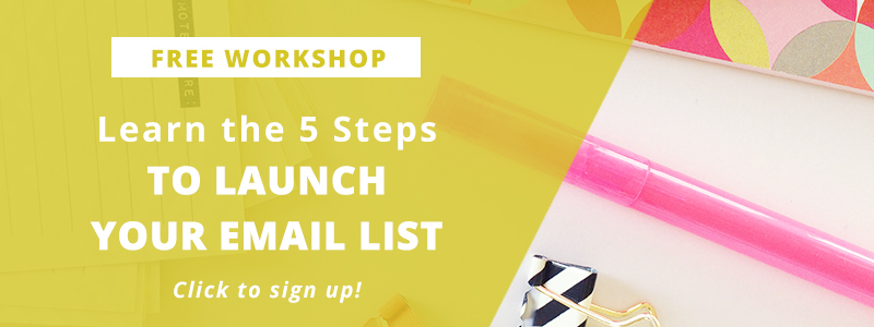 Learn the 5 steps to launch your email list in this free online workshop from XOSarah.com