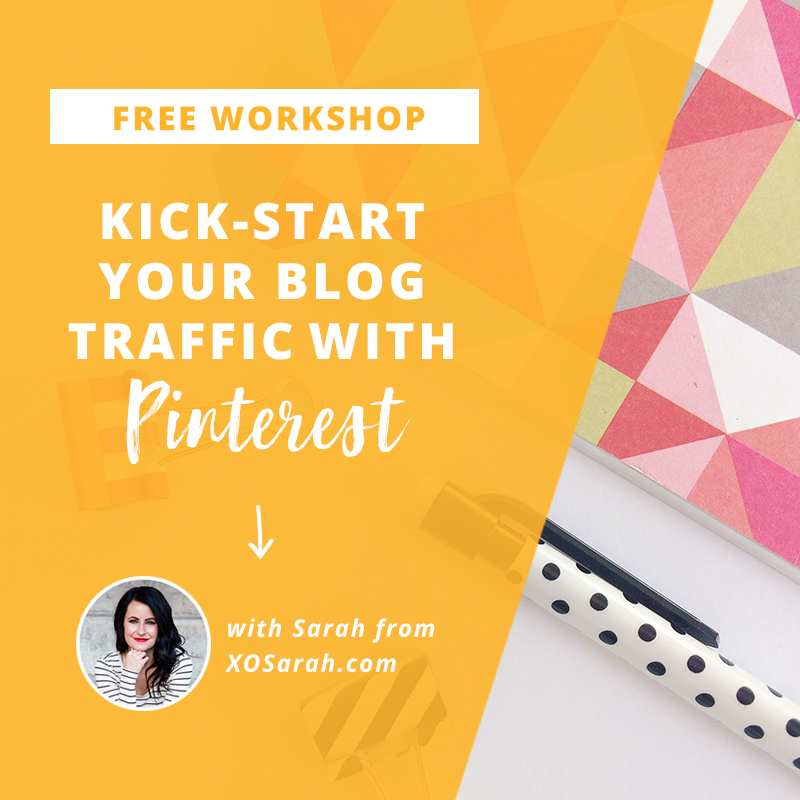 Learn how to grow your blog traffic with Pinterest. Watch this free workshop from XOSarah.com